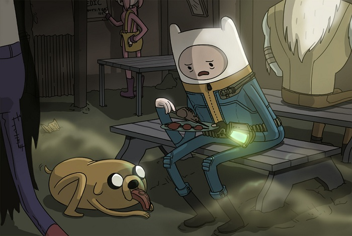 Finn-Jake de Hora de Aventuras en Fallout.